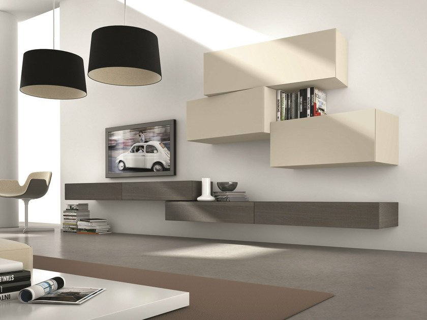 Sectional modular TV wall system InclinART - 305 by Presotto
