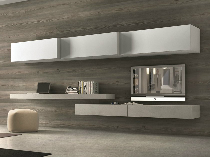 Sectional wall-mounted TV wall system InclinART - 262 by Presotto