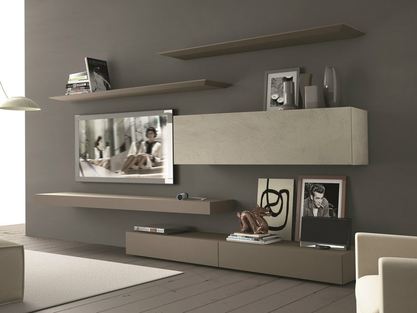 Sectional wall-mounted TV wall system InclinART - 265 by Presotto