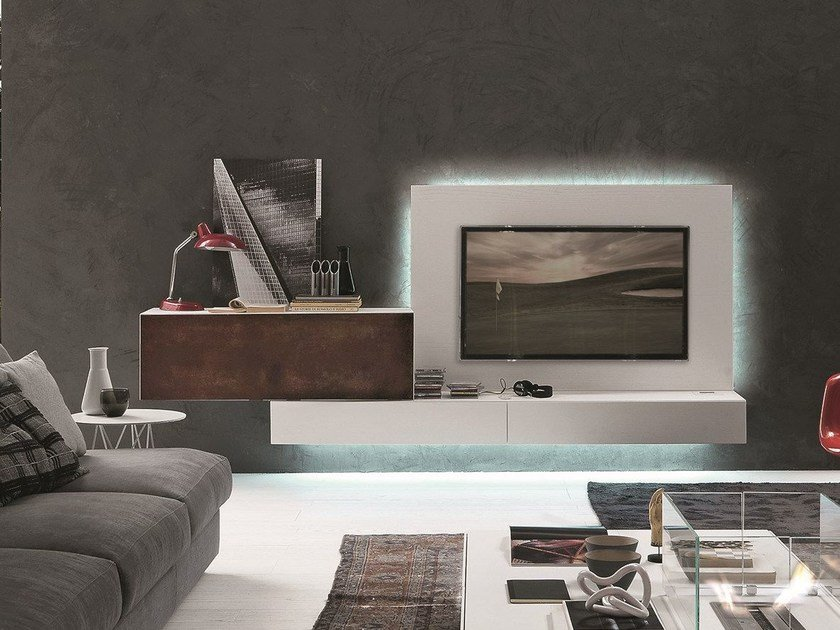 Modular wall-mounted TV cabinet InclinART - 293 by Presotto