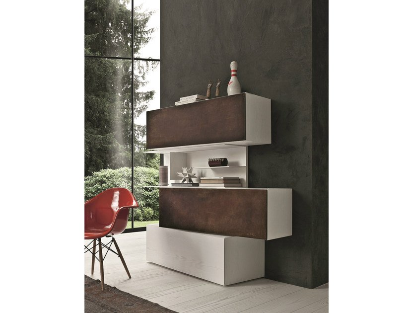 Lacquered Corten™ highboard InclinART - 295 by Presotto