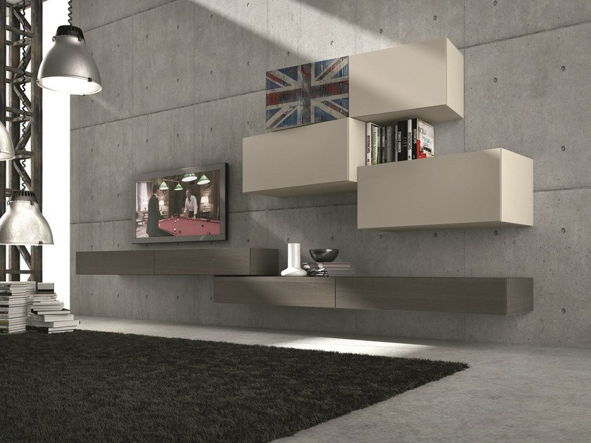 Sectional wall-mounted TV wall system InclinART - 306 by Presotto