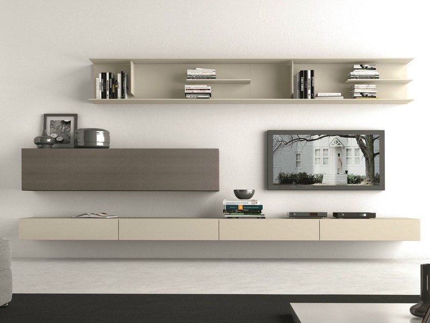 Sectional wall-mounted TV wall system I-modulArt - 283 by Presotto