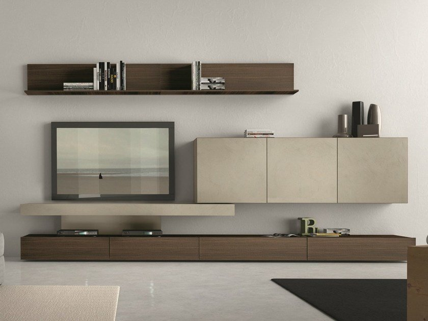 Sectional wall-mounted TV wall system I-modulArt - 282 by Presotto