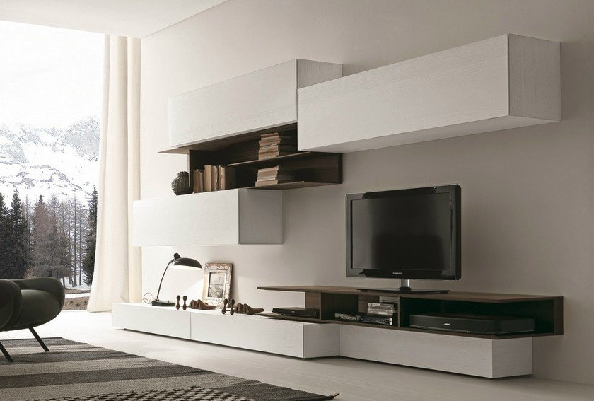 Sectional wall-mounted TV wall system I-modulArt - 270A by Presotto