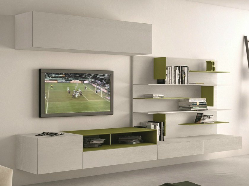 Sectional wall-mounted TV wall system I-modulArt - 290 by Presotto