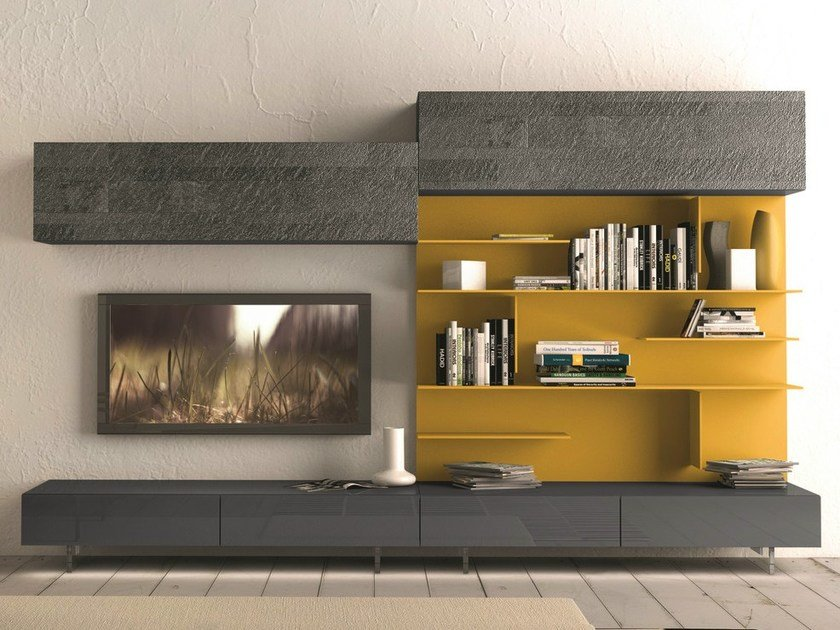 Sectional wall-mounted TV wall system I-modulArt - 291 by Presotto