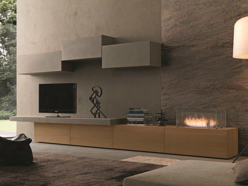 Parete attrezzata componibile fissata a muro con porta tv for Parete attrezzata bianca e nera