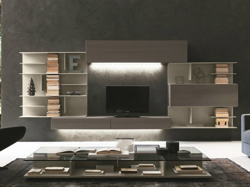 Sectional wall-mounted TV wall system I-modulArt - 284 by Presotto