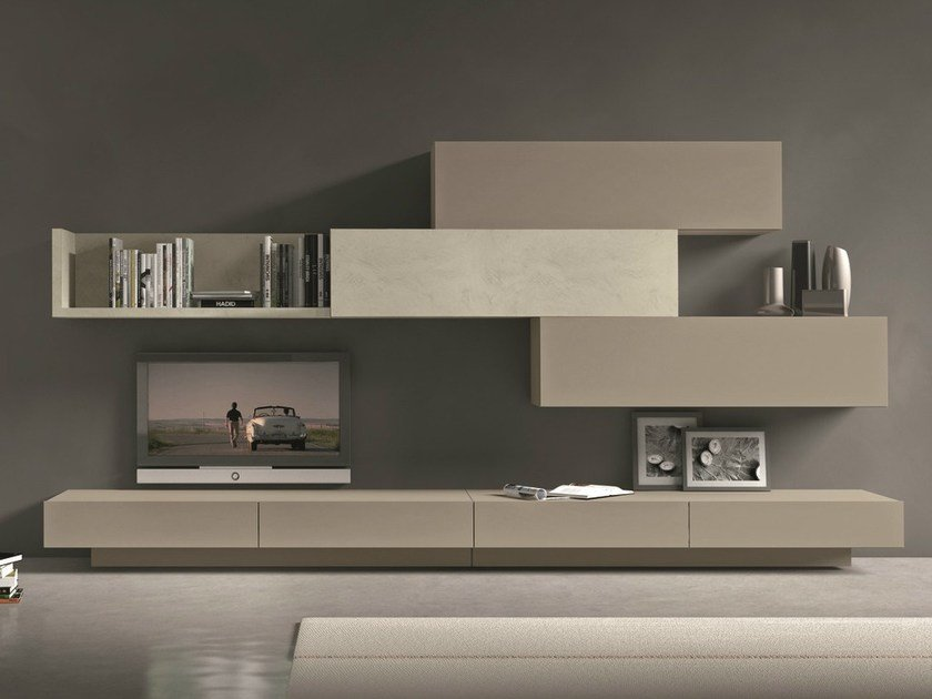 Sectional wall-mounted TV wall system I-modulArt - 279 by Presotto