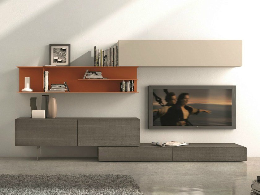 Sectional wall-mounted TV wall system I-modulArt - 278 by Presotto