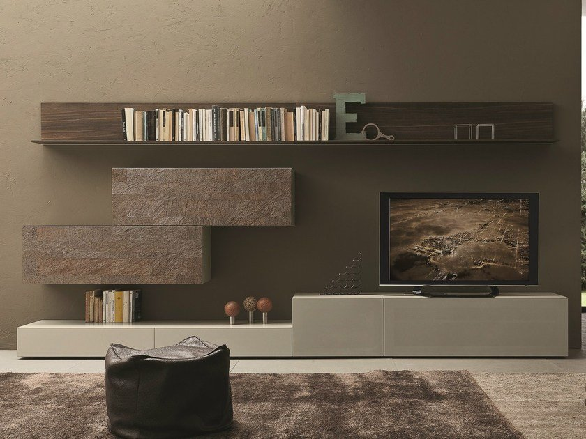 Sectional wall-mounted TV wall system I-modulArt - 274 by Presotto