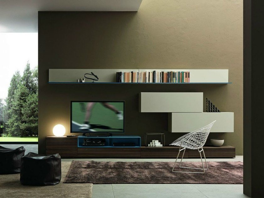 Sectional wall-mounted TV wall system I-modulArt - 273 by Presotto