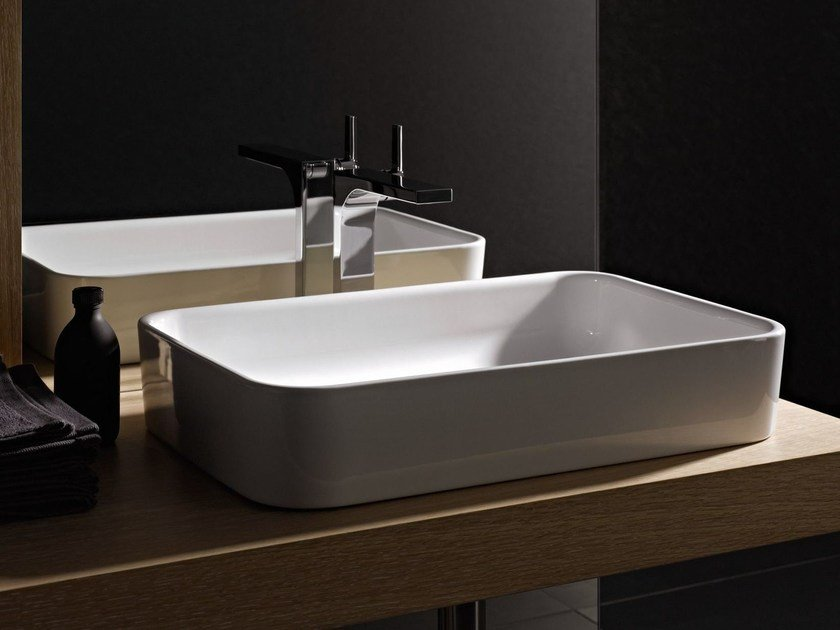 Countertop rectangular enamelled steel washbasin BETTEART | Countertop washbasin by Bette