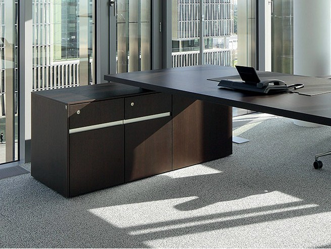 Low wooden office storage unit SONO | Office storage unit with lock by RENZ