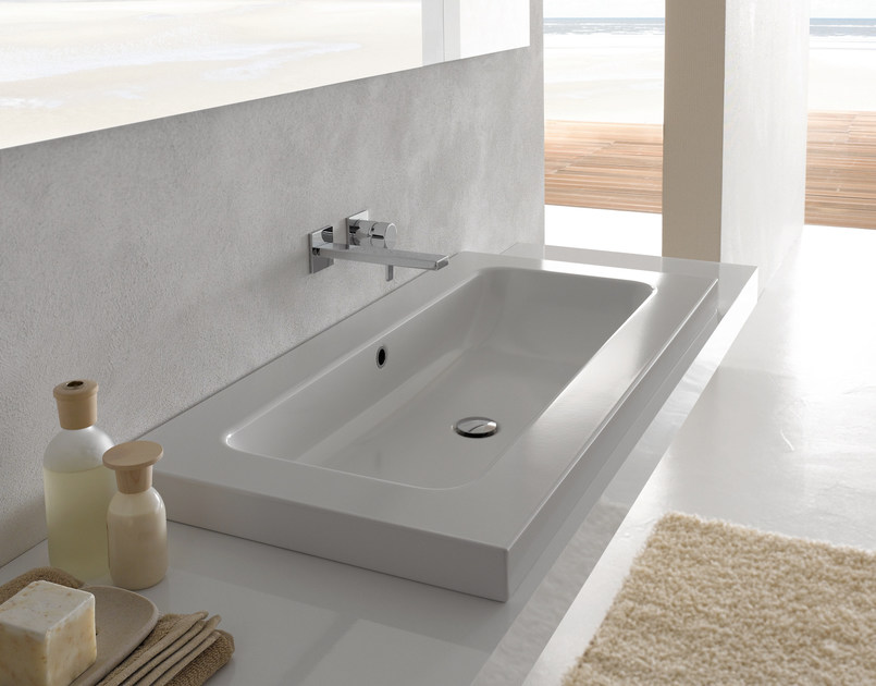 Countertop rectangular enamelled steel washbasin BETTEONE | Countertop washbasin by Bette