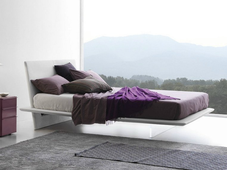 Upholstered double bed PLANA | Double bed by Presotto