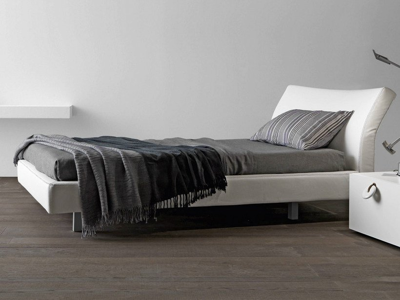 Upholstered leather single bed REFLEX | Single bed by Presotto