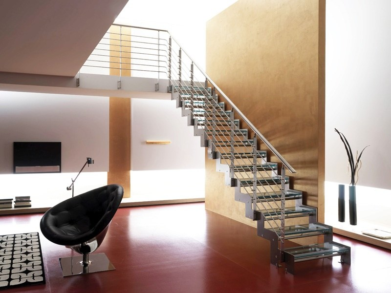 Straight glass and steel Open staircase MONOLAMA by RINTAL