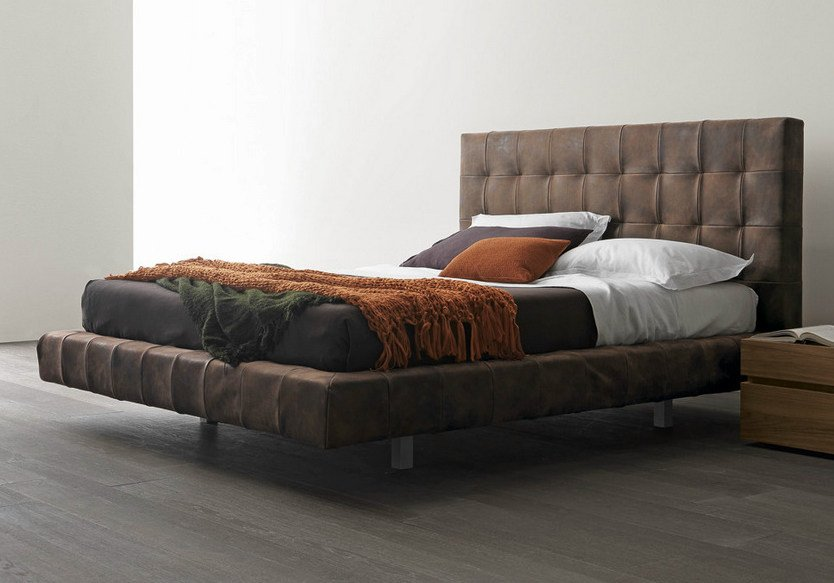 Upholstered bed with high headboard OMEGA   Bed with high headboard by Presotto