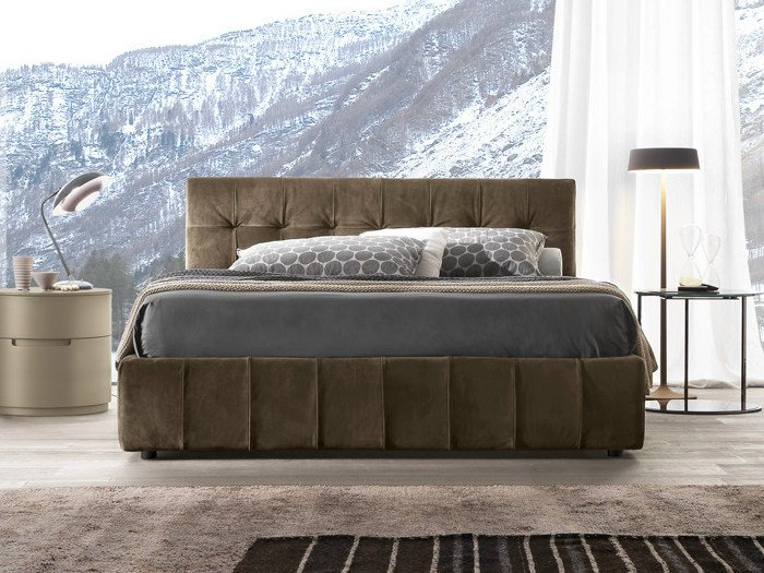 Upholstered leather double bed with tufted headboard DADO | Bed with tufted headboard by Presotto
