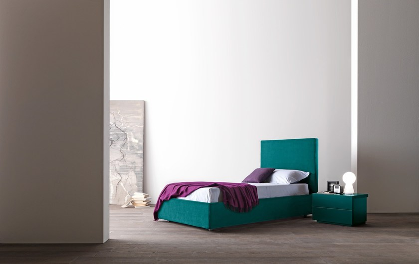Upholstered fabric single bed with high headboard DADO | Single bed by Presotto