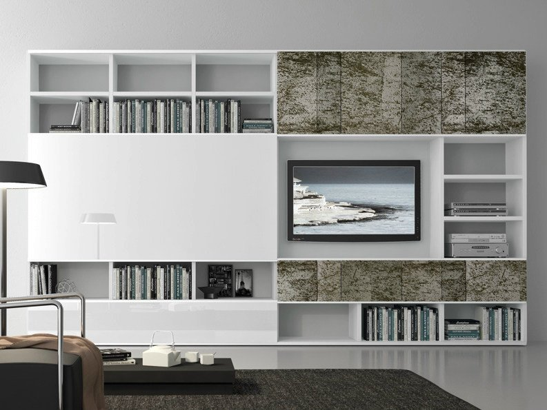 Sectional lacquered TV wall system Pari&Dispari - COMP 324 by Presotto
