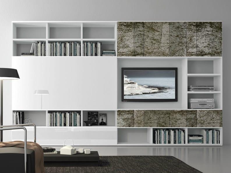 Parete attrezzata componibile laccata con porta tv pari for Presotto mobili