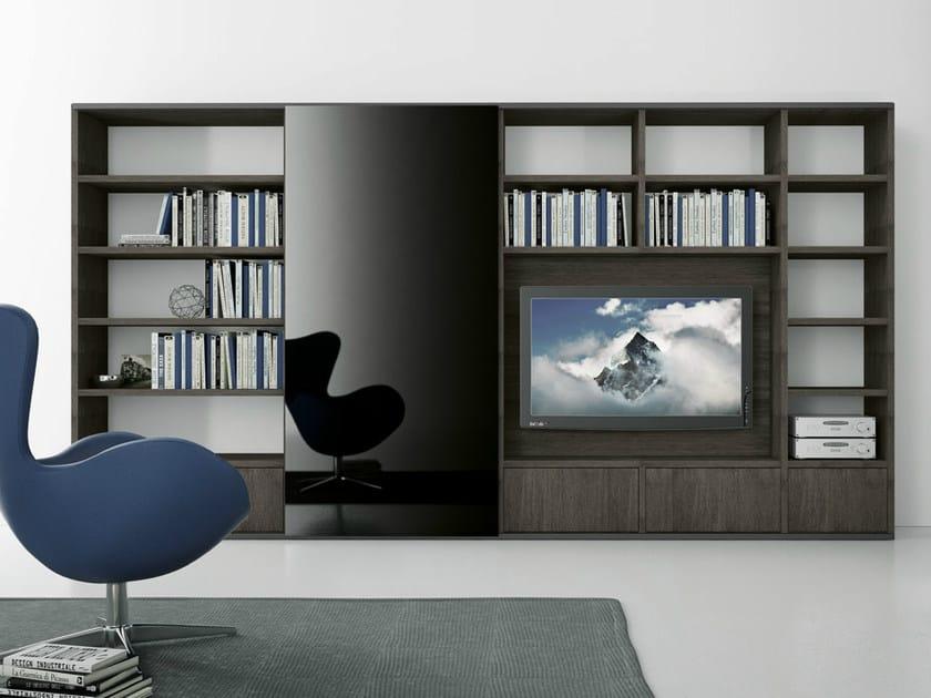 Sectional oak TV wall system Pari&Dispari - COMP 316 by Presotto