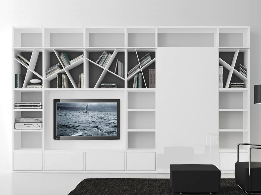 Sectional lacquered TV wall system Pari&Dispari - COMP 318 by Presotto