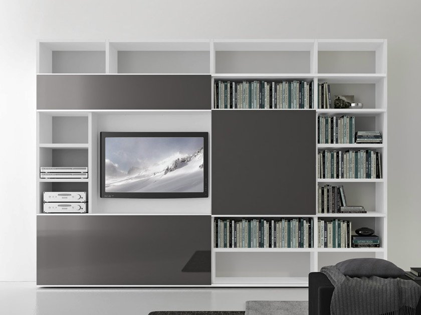 Sectional lacquered TV wall system Pari&Dispari - COMP 320 by Presotto
