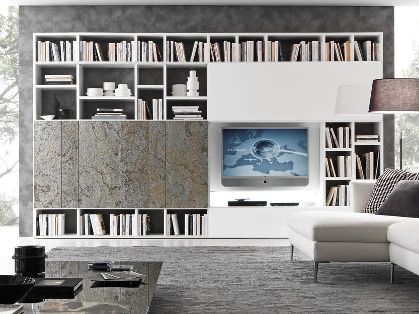 Sectional lacquered TV wall system Pari&Dispari - COMP 325 by Presotto