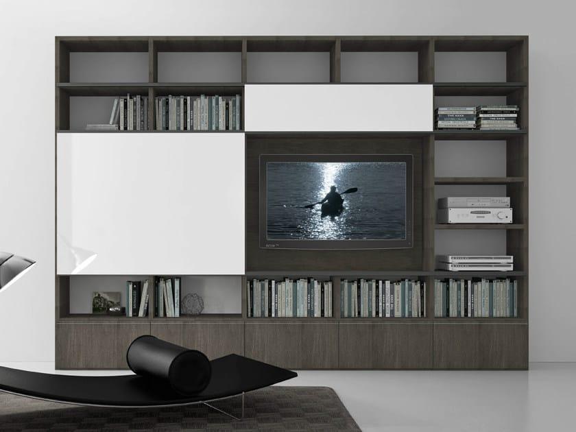 Sectional oak TV wall system Pari&Dispari - COMP 321 by Presotto