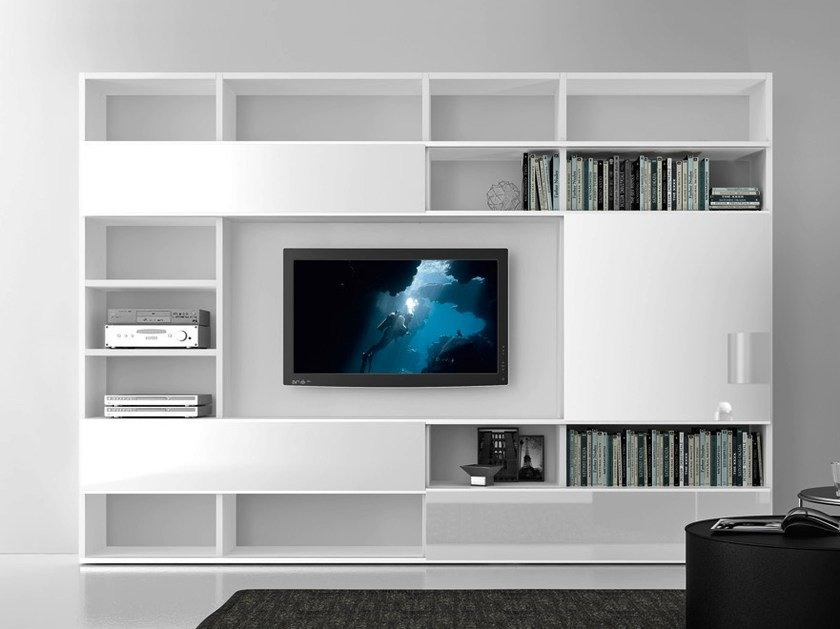 Sectional lacquered TV wall system Pari&Dispari - COMP 322 by Presotto