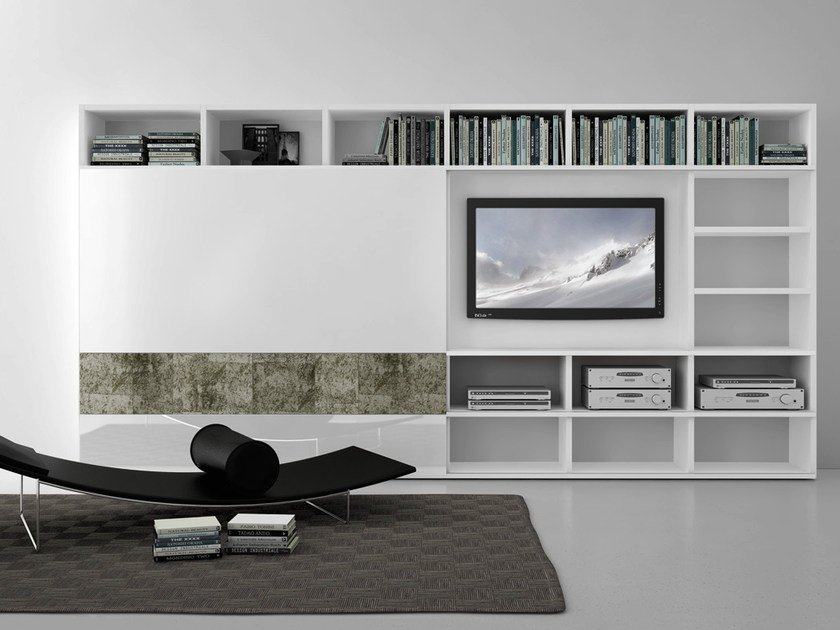 Sectional lacquered TV wall system Pari&Dispari - COMP 314 by Presotto