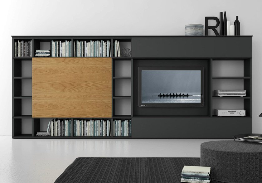 Sectional lacquered TV wall system Pari&Dispari - COMP 313 by Presotto