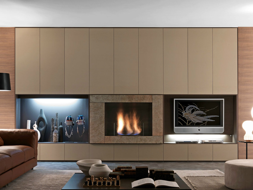 Sectional TV wall system Pari&Dispari - COMP 339 by Presotto