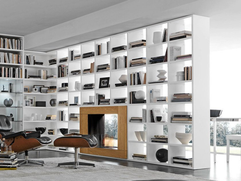 Open wall-mounted sectional bookcase Pari&Dispari - COMP 338 by Presotto