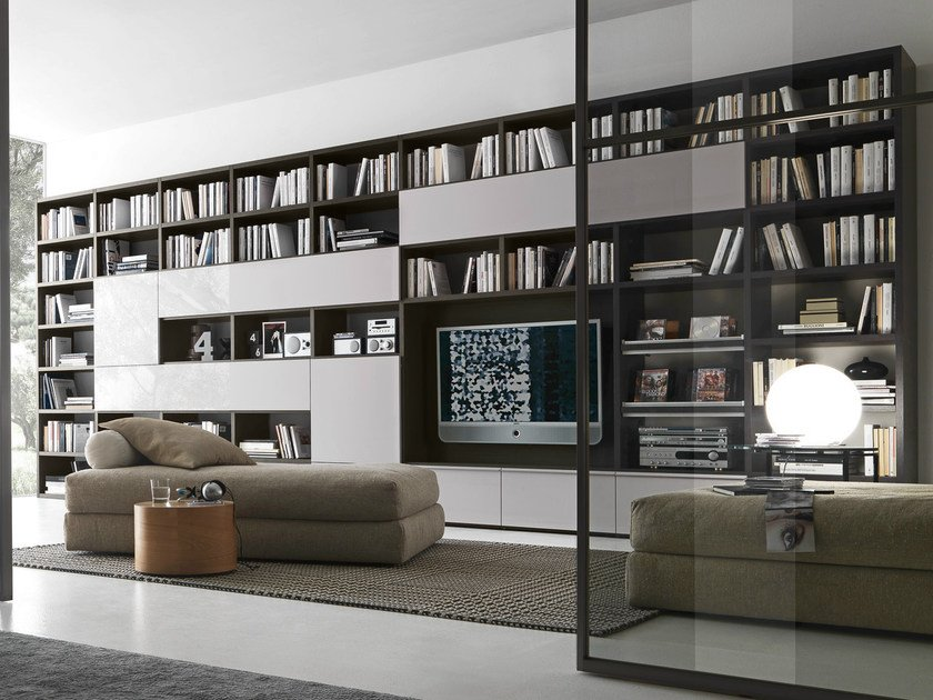 Sectional lacquered TV wall system Pari&Dispari - COMP 334 by Presotto