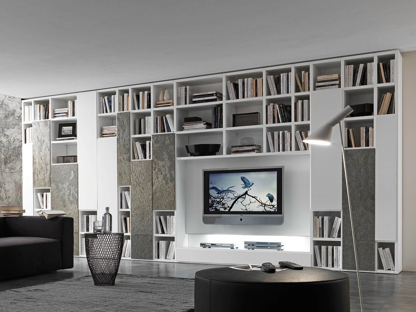 Sectional lacquered TV wall system Pari&Dispari - COMP 332 by Presotto