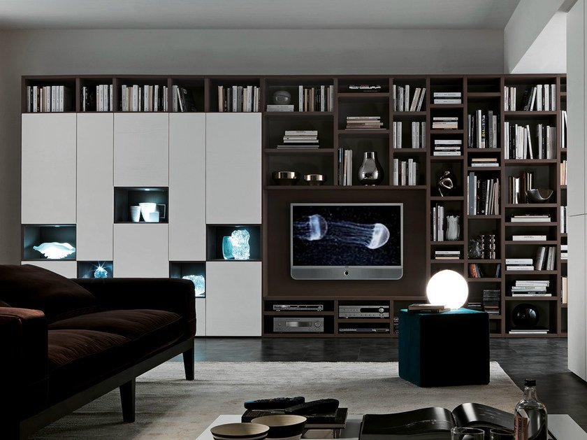 Sectional TV wall system Pari&Dispari - COMP 333 by Presotto