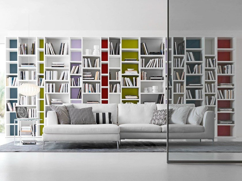 Open wall-mounted sectional bookcase Pari&Dispari - COMP 341 by Presotto