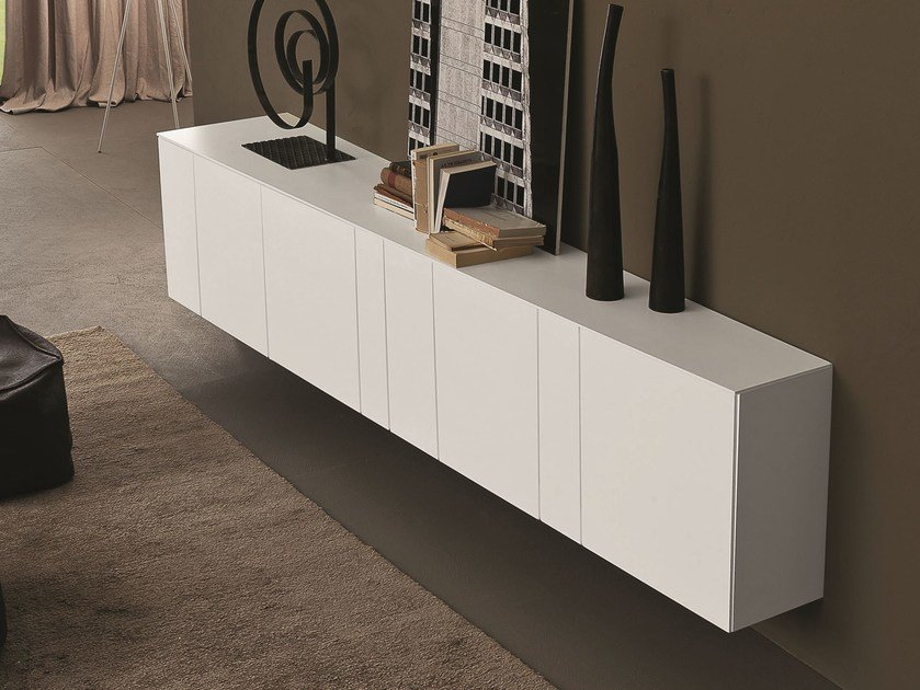 Lacquered suspended sideboard with doors INCLINART | Lacquered sideboard by Presotto
