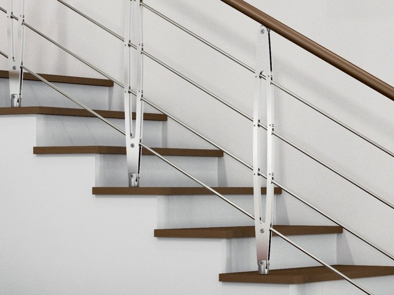 Steel and wood Stair railing LEAF by RINTAL