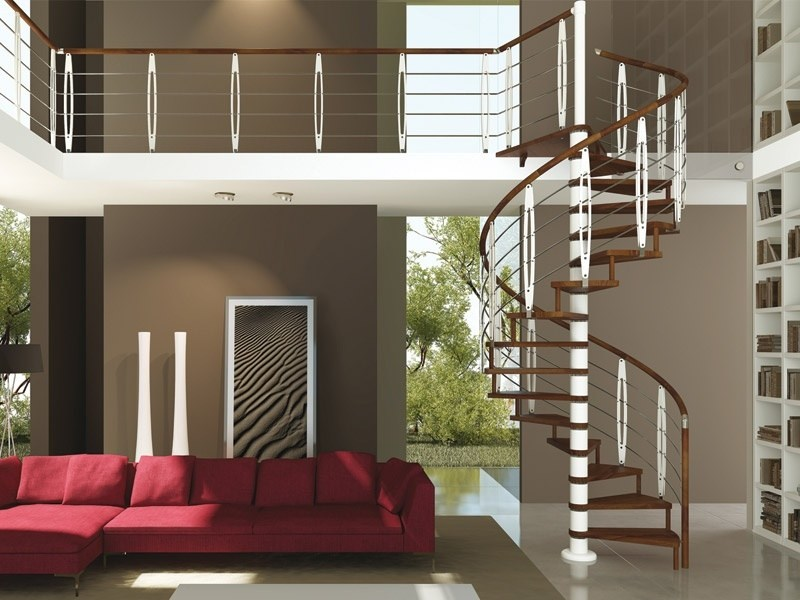 Steel and wood stair railing leaf by rintal for Rintal scale prezzi