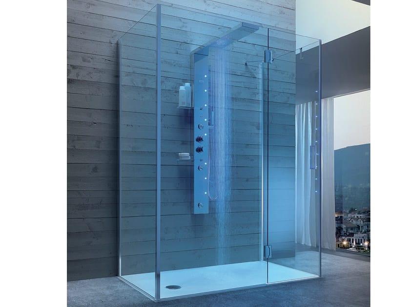 Box doccia multifunzione in acciaio e cristallo con idromassaggio