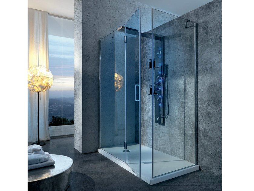 Corner multifunction Hydromassage crystal and steel shower cabin BRISTOL BOX 5 by Gruppo Geromin