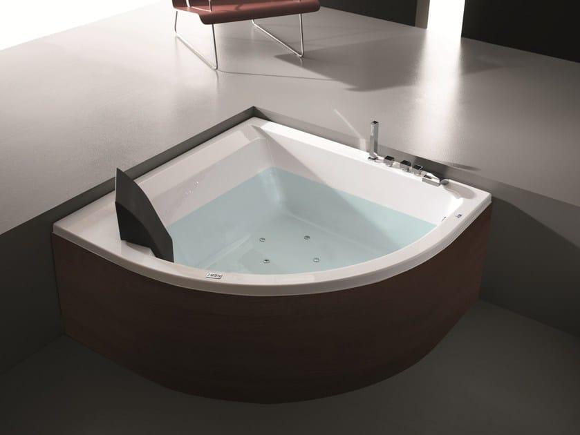 Corner whirlpool wooden bathtub ERA PLUS 140X140 by Gruppo Geromin