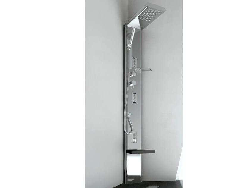 Colonna doccia angolare in acciaio con soffione quarantacinque s