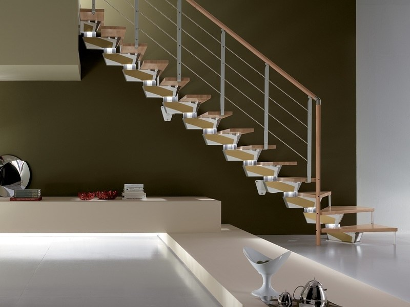 L-shaped Open staircase SPIRAL KNOCK DESIGN by RINTAL